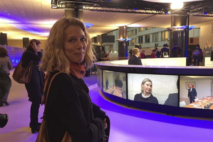 Åsa Aspild, Expressen (S) på besøg i tv-studiet tæt ved EU-parlementet Foto: Joan Rask