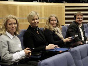 Til pressemøde i Berlemount bygningen - fra venstre er det Åsa Aspild, Ann-Sofi Berger, Ingeborg Vigerust Rangul og Hallgrimur Indriðason