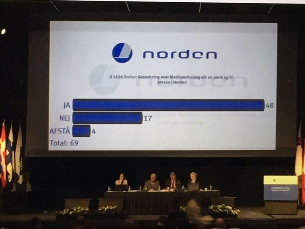 Afstemning om NJCs budget for 2016 på 67. Session, Island. De 17 nej-stemmer stemte for et mod-forslag, der ville give NJC større frihed til at vælge kursusindhold og fokus.