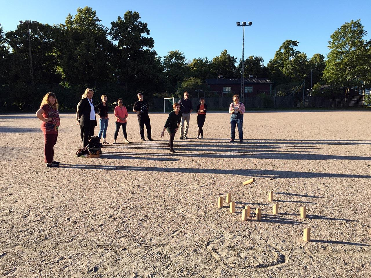 Traditionel finsk spil med træklodser.