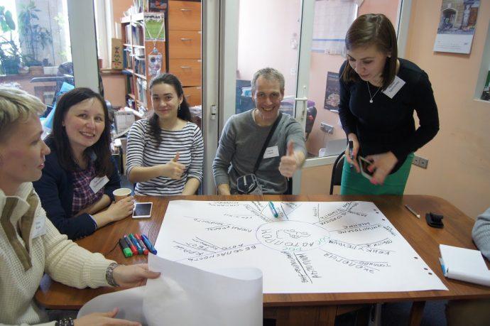 Russian journalists (from left): Anna Kriek, Lilia Khlebnikova, Bella Petroshenko, Sergei Surin, Irina Khrustaleva.