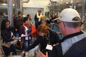 Russian journalists examining and visiting a danish heating plant which produces heat from warm water in the ground