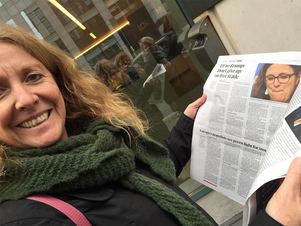 Den ene dag på besøg hos handelskommissær Cecilia Malmström, der var fuld af optimisme om TTIP og andre handelsaftaler - og dagen efter højaktuelt fordi Donald Trump blev præsident i USA. Ingeborg Vigerust Rangul, Norge med Politiko i Bruxelles