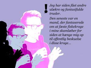 Nyhedschef Lijan Weihe, Kringvarp Føroya bliver truet med voldtægt på sociale medier, fordi hun var med til at afsløre toldsnyd hos den færøske finansminister Jørgen Niclasen