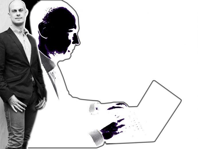 """Per Strömbäck, talsperson Dataspelsbranschen (den svenske spilindustri) og forfatter til """"21 Digital Myths"""" udfordrer det mindset, der siger at den teknologiske udvikling kører sit eget liv. Han opfordrer til at demokratiske lande tager ansvar. Foto: Sofia Runarsdotter Collage: Ole Rode Jensen"""
