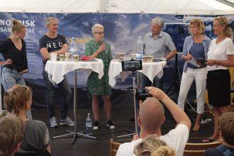 Den svære ytringsfrihed til debat på Folkemødet på Bornholm (2017). Deltagere fra venstre: Emma Holten, Sjúrdur Skaale, Liljan Wiehe, Dagfinn Höybråten, Joan Rask og Lene Johansen. Foto: NJC