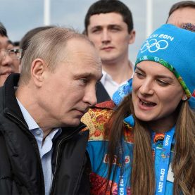 Den russiske præsident Putin ved vinter OL 2014, ski. Foto: ritzau/AP/Pascal le Segretain