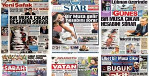 Pro-government newspapers useing the same or very similar frontpage headlines on the same day about a report on a speech by President Recep Tayyip Erdogan