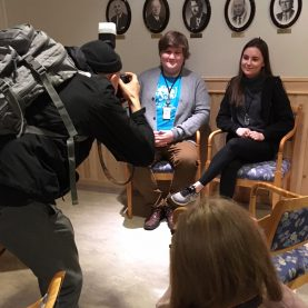 Max Lewander and Vendela Wikström photographing Martin Gamst (21) and Victoria Mathiassen (20), vice- and chairperson for the Troms Youth Council. Of course this had to take place in the regional Fylkeshuset. Foto: Ole Rode