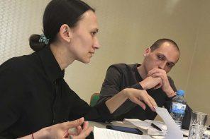 Varya Kozhevnikova, Russia, and Grigory Sokolinsky, Russia, developing ideas at Next to You 2019 in Kaliningrad