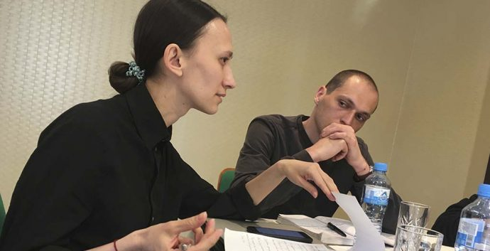 Varya Kozhevnikova, Russia, and Grigory Sokolinsky, Russia, developing ideas at Next to You 2019 in Kaliningrad